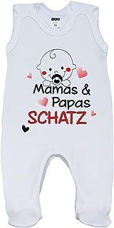 MEA BABY Unisex Baby Strampler mit Spruch Mamas & Papas Schatz,100% Baumwolle. Baby Strampler Weiß. Baby Strampler für Mädchen Baby Strampler für Jungen.