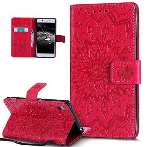 Kompatibel mit Sony Xperia Z3 Hülle,Sony Xperia Z3 Plus Hülle,Prägung Mandala Blumen Sonnenblume PU Lederhülle Flip Hülle Cover Ständer Wallet Tasche Hülle Schutzhülle für Sony Xperia Z3/Z3 Plus/Z4,Rot