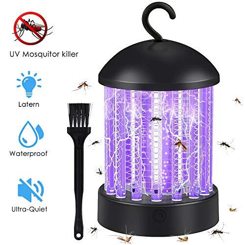 Hisome Lámpara Antimosquitos, Portátil 2 en 1 Lámpara Camping y Noche Lámpara LED Luce UV Mosquitera Eléctrica USB Recargable Silencioso contra Mosquitos Polillas Zancudos y Mas Insectos