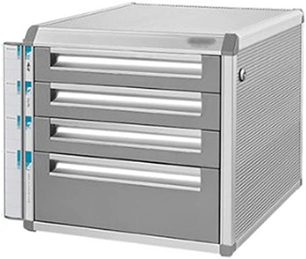 Aluminum Alloy File Cabinets Multi Layer Lockable Tabletop Office Desktop Drawer Cupboard Data Storage Box Size 4 Layers