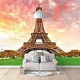 Fotomural Vinilo Pared Torre Eiffel Ideal Para La Decoración De Comedores, Salones | Motivos Paisajísticos | Naturaleza Arte Diseño Elegante (W350 X H250Cm)
