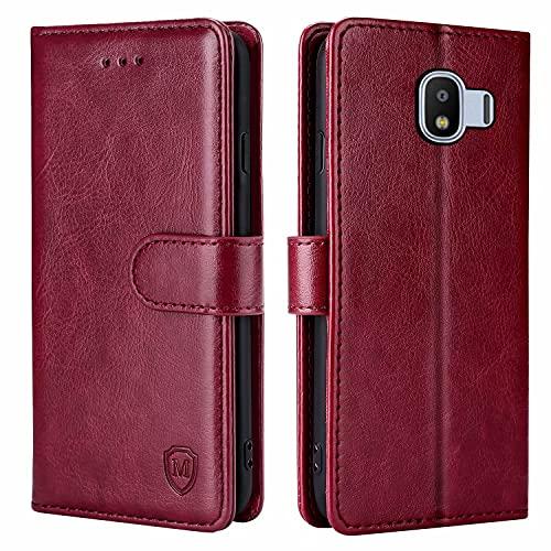 FMPCUON Hülle für Samsung Galaxy J2 Pro 2018 Handyhülle [Standfunktion] [Kartenfach] [Magnetverschluss] Tasche Flip Hülle Schutzhülle lederhülle flip case für Samsung Galaxy J2 Pro 2018 Rot