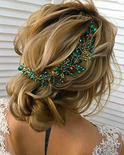 Kercisbeauty - Diadema para el pelo con cristales verdes y