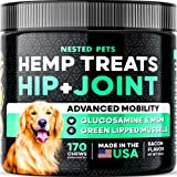 Organic Hemp Treats - Advanced Glucosamine for Dogs - 170 Soft Chews - || Maximum Strength || Hip & Joint Support w/ Hemp Oil - Chondroitin - MSM - Natural Pain Relief & Mobility - Made in USA - Bacon