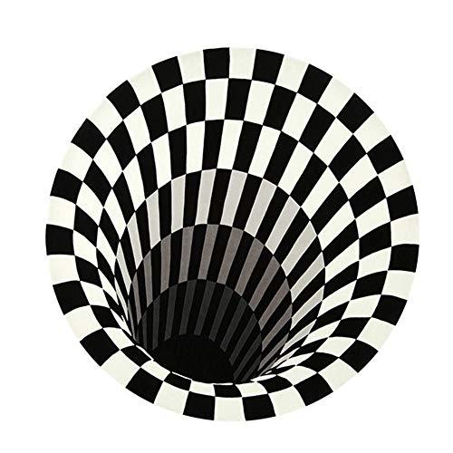 Delaspe Alfombra redonda negra y blanca de rejilla 3D, adecuada para salón, dormitorio, cocina