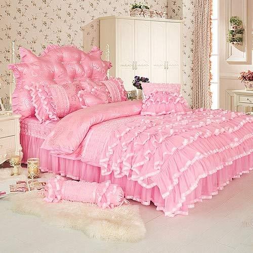 LEV Bedding Sets - princess style twin queen king size pink cream bedding set bed cover duvet cover bed skirt bed sheets set parure de lit 1 PCs