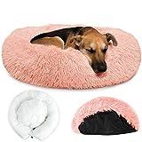 SlowTon Cama calmante para Mascotas, cálida Cama para Perros con Funda extraíble Cojín Suave de Felpa para Perros y Gatos con una acogedora Parte Inferior Antideslizante de Esponja para Mascotas