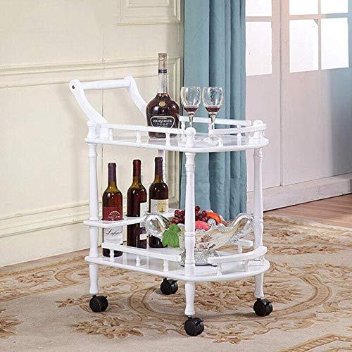 KUANDARMX Haushalt Doppelschichtige Massivholz Esszimmer, Wohnzimmer Bad Lagerregal Hotel Restaurant Wein Service Wagen, White, Plastic Wheel