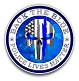 Back The Blue Punisher American Flag Sticker for Cars Trucks for Honor and Support of Our Officers Vinyl Window Bumper Decal 4 inch