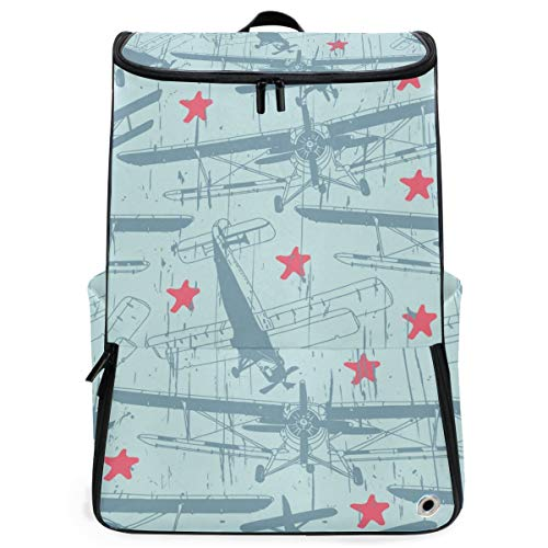 YUDILINSA Viaje Mochila,Retro aviones estrellas Vector de patrones sin fisuras,Universitaria Mochila,Laptop Backpack con Compartimento para zapatos