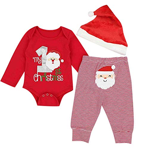Fossen My First Christmas Disfraz Navidad Bebe niño niña Ropa de Conjunto Monos + Pantalones + Sombrero (0-6 Meses, Papa Noel)