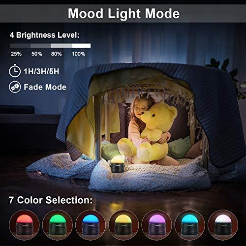 LED Discokugel Kinder OMERIL Discolicht Musikgesteuert Disco Lichteffekte RGB Partylicht, Zeitgesteuertes USB Stimmungslicht mit 7 Farben, 4 Helligkeiten und Fernbedienung für Kinder, Zimmer, Party - 5