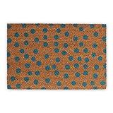 Relaxdays Felpudo de coco lunares, 1,5 x 60 x 40 cm, rectangular, antideslizante, fibra de coco, goma, azul natural