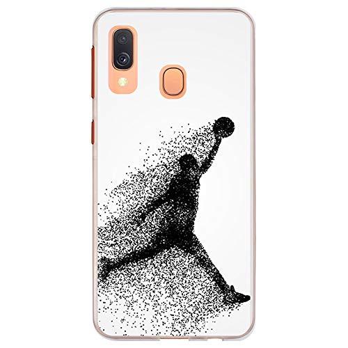 BJJ SHOP Funda Transparente para [ Samsung Galaxy A40 ], Carcasa de Silicona Flexible TPU, diseño : Jugador de Baloncesto Abstracto Saltando