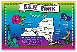 NEW YORK STATE MAP postcard set of 20 identical postcards. Post cards with NY map and state symbols. Made in USA.