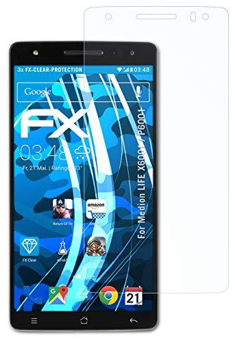atFolix Schutzfolie kompatibel mit Medion Life X6001 / P6001 Folie, ultraklare FX Bildschirmschutzfolie (3X)