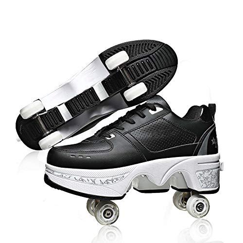 Rolschaatsen voor volwassenen Outdoor, dubbele rij vervormingswielen Parkour-schoenen voor dames, verstelbare…