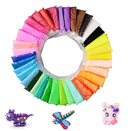 OBTANIM 36 Colors Air Dry Clay, Colorful Modeling Clay Air Dry Ultra Light Molding Magic Clay Toy for Kids, DIY Colored Clay Kit with Modeling Tools