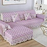 YUTJK Chaiselongue-Sofa Bezug,Rutschfestes Rückensofakissen mit Spitzenrock,kombinierter Sofabezug aus feiner Baumwolle und Leinen,Sofarückenlehne Mat-Purple_88x120cm