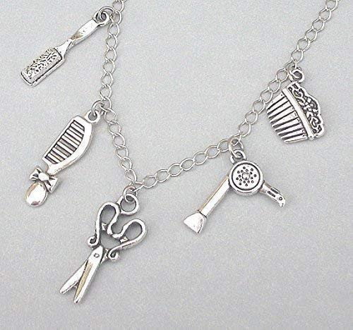 Professional hairstyles necklace Stylist Necklace Sterling Silver Hair Brush Pendant Silver Hair Brush Necklace Hairstyles Gift