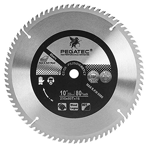 Circular Saw Blade TCT Table Saw Blade ATB Style Anti-Vibration Miter Saw Blade Cutting Blade Fit for Cutting Ripping Wood, Crosscuts Wood, Plywood, Laminate 10 inch 80T