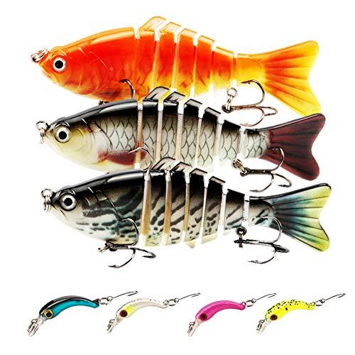 Dsaren 7 Señuelos de Pesca Señuelos Articulados para Pesca Cebos Artificiales Señuelos Spinning Mar con Gancho para Calamar Lubina Río Mar Regalos de Pesca Hombres (7 Piezas)