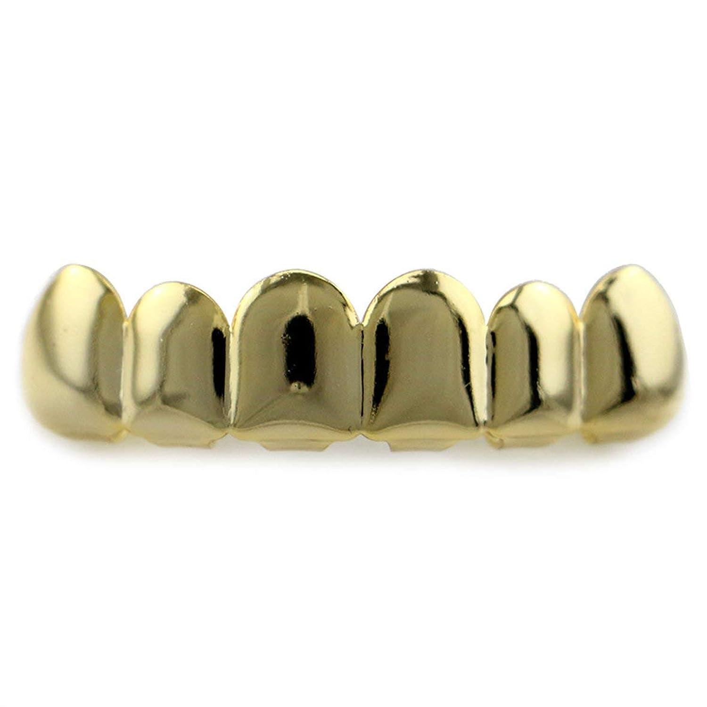 Blackfell 6メッキ光沢のあるGrillz歯電気めっき銅ヒップホップ歯トップ&ボトムティース歯グリル用クリスマスハロウィン