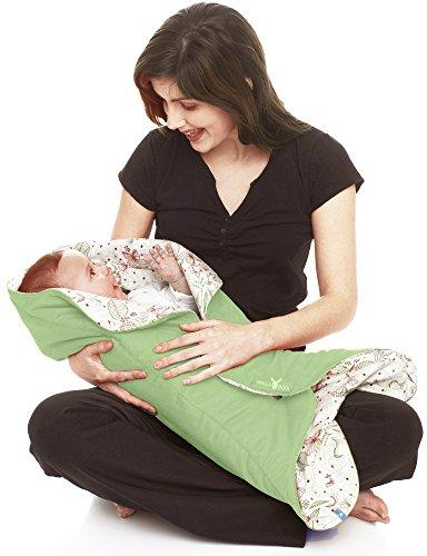 Wallaboo Einschlagdecke Leaf für Babyschale, Autokindersitz, für Kinderwagen, Buggy, Babybett, Schönen Blumenform, Veloursleder und Baumwolle, 85 x 85 cm, 0 - 12 Monaten, Farbe: Grün