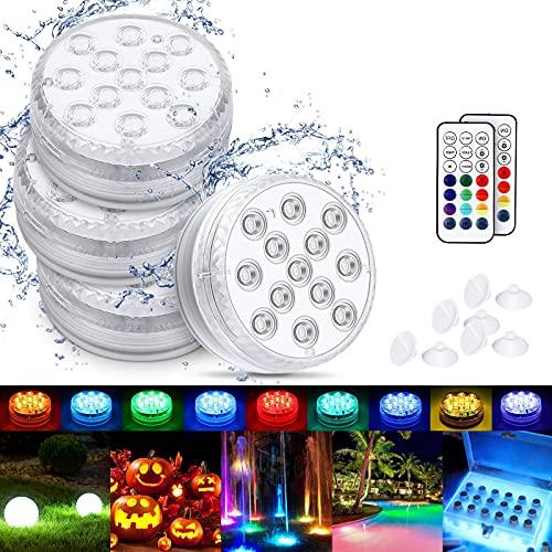 LED Sommergibili Luci Piscina, Luci a LED Sommergibili Impermeabile, Luci per Laghetto con Telecomando, per La Cerimonia Nuziale/Partito/Piscina/Fish Tank Decorazione(4 PCS)