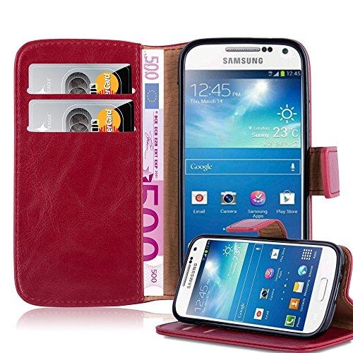 Cadorabo Funda Libro para Samsung Galaxy S4 Mini en Rojo Burdeos -...