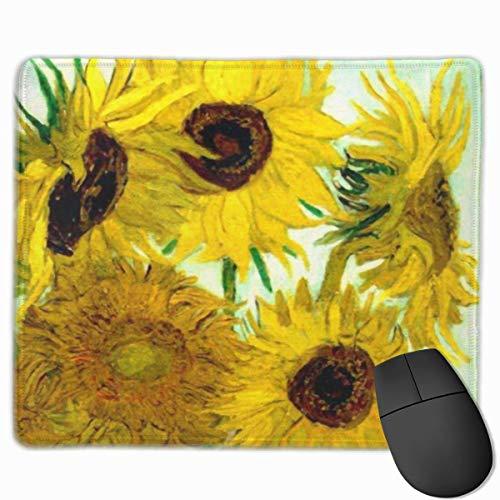 Nettes Gaming-Mauspad, Schreibtisch-Mauspad, kleines Mauspad für Laptop-Computer, Mausmatte Bunte Vincent Vase Sonnenblumen Van Gogh Fine Nature Floral