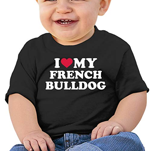 I Love My French Bulldog Toddler Baby Girl Boy Round Neck Short Sleeved T-Shirt Tops Tee Clothes Black