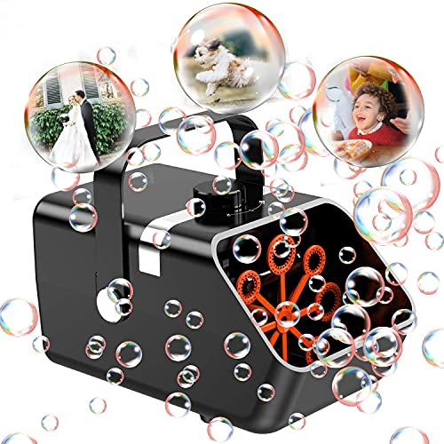 URMARVELOUS Bubble Machine, Automatic Bubble Blower for Kids Toddlers Age 3+ ,USB C Plug-in Portable Bubble Maker with 2 Speed Levels,5000+ Bubbles Per Minutes Bubble Toys Outdoor Indoor Party Wedding