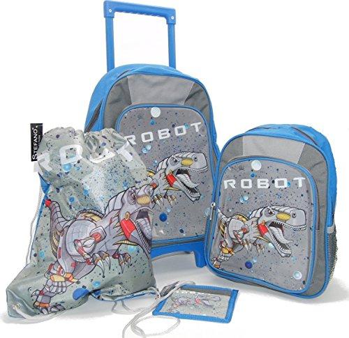 Stefano STEFANO Kinder Reisegepäck Roboter grau Set Trolley Koffer Rucksack Sportbeutel Brustbeutel -präsentiert von RabamtaGO®- (Set 4tlg.)