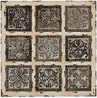 """Deco 79 Rustic Wood and Metal Ornate Wall Plaque, 31 by 31"""", Distressed White and Silver"""
