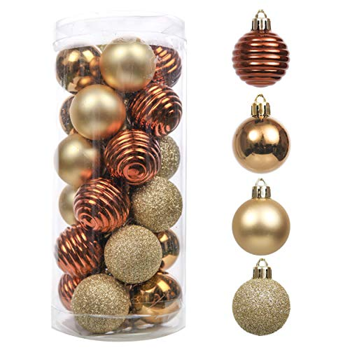 Valery Madelyn 24ct 40mm Essential Copper Gold Christmas Ball Ornaments Decoration, Shatterproof Christmas Tree Ornaments Balls
