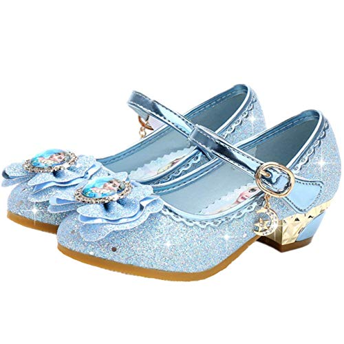 Fanessy Zapatos de Princesa para niña, Lentejuelas moradas Rosadas, Zapatos Antideslizantes, Zapatos de tacón Alto de Velcro para niña, Zapatos de Vestir para Fiesta de cumpleaños, Boda para niños