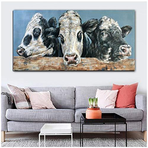 LLXHG Abstract schilderij, bedrukt en bedrukt met kleurrijke diermotieven koeien op canvas, moderne schilderijen, decoratie voor woonkamer, foto, wand, art-70 x 140 cm, zonder lijst