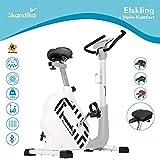 skandika Elskling - Bicicleta estática/ergómetro - Diferentes sillines - 24 Prog. - 32 Niveles de Resistencia - Freno magnético - Bluetooth + Applicaciones (Blanco con síllin Vario-Comfort)
