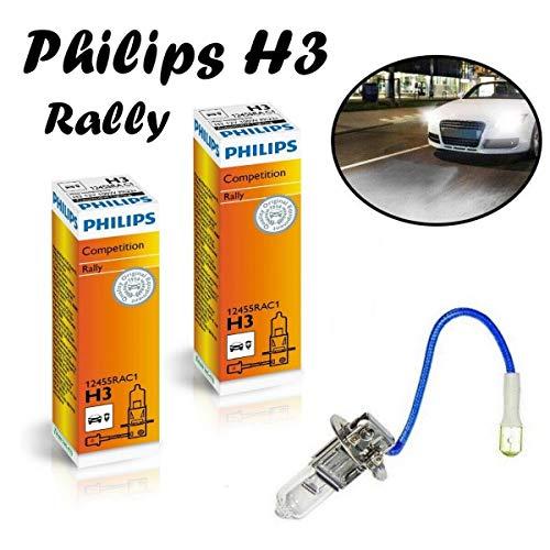 2x Philips H3 100W 12V 12455RAC1 Rally Vision Super Bright hell Weiß Ersatz Halogen Birne für Scheinwerfer, Fernlicht, Abblendlicht, Nebelleuchte vorne - Off-Road