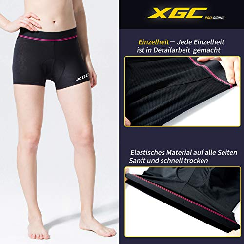 XGC Damen Radunterhose Radsportshorts Fahrradhosen mit elastische atmungsaktive 4D Gel Sitzpolster mit Einer hohen Dichte (Black, M) - 3