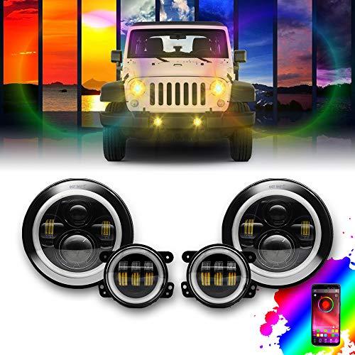 7'' and 4'' Round RGB Bluetooth LED Headlight High Low Beam for Wrangler JK TJ LJ CJ,APP RGB Halo Ring Combo 1997-2017 97-17 Hummer
