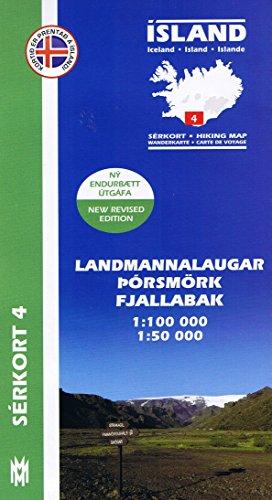 Serkort 4: Landmannalaugar, Thorsmörk / Porsmörk ( Süd-Island) Island Trekkingkarte 1:100.000 mit Detailwanderkarte 1:50.000
