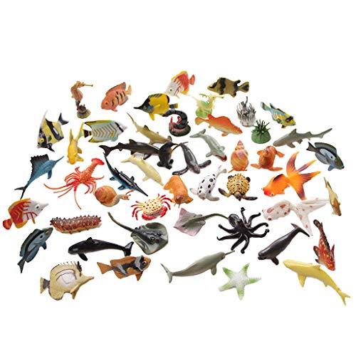 Yousheng Simulation Animal Marin modèle Monde Marin Poisson Jouet Pingouin Requin Homard Crabe Hippocampe Escargot Escargot Enfants Cognitive Aide pédagogique 50 Petits Animaux Marins (Taille : S50)