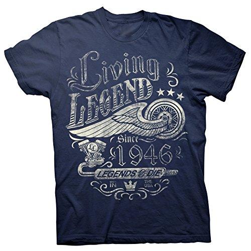 ShirtInvaders 75th Birthday Gift Shirt for Men - Living Legend 1946 Legends Never Die - Navy-3X