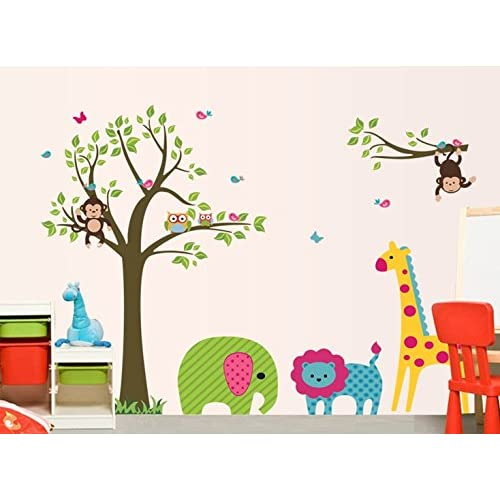 Oren Empower Animal Fun Around Tree Large Cartoon Wall Stickers for Kids (Finished Size on Wall - 130(w) x 95(h) cm)