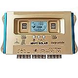 Y&H 60A controlador de carga híbrido Solar, dispositivo de control de sistema híbrido de viento y sol,MPPT,carga USB Dual,Controlador de carga del regulador del panel solar,Controlador de Carga Solar