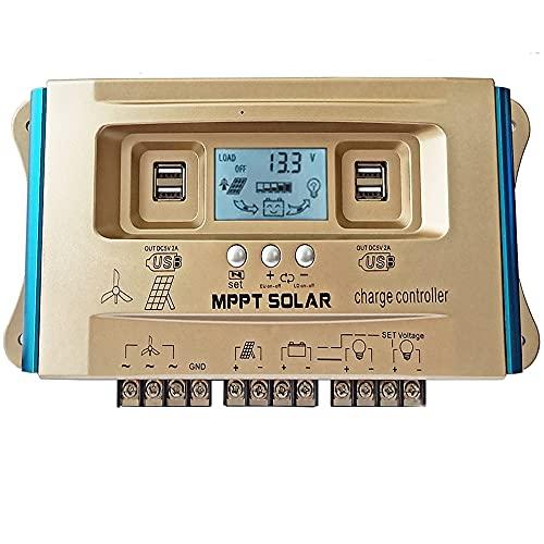 Y&H 100A controlador de carga híbrido Solar, dispositivo de control de sistema híbrido de viento y sol,MPPT,carga USB Dual,Controlador de carga del regulador del panel solar,Controlador de Carga Solar