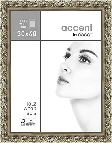 Accent Holz Bilderrahmen Arabesque, 30x40 cm, Silber