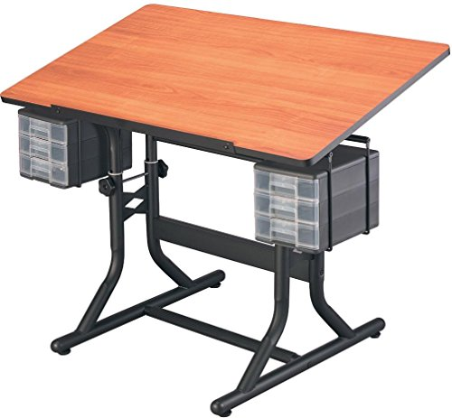 """Alvin cm40-3-wbr craftmaster art, drawing and hobby table black base with cherry woodgrain24"""" x 40"""" top with rounded corners; one-hand tilt-angle mechanism adjusts tabletop from 0° to 30°"""
